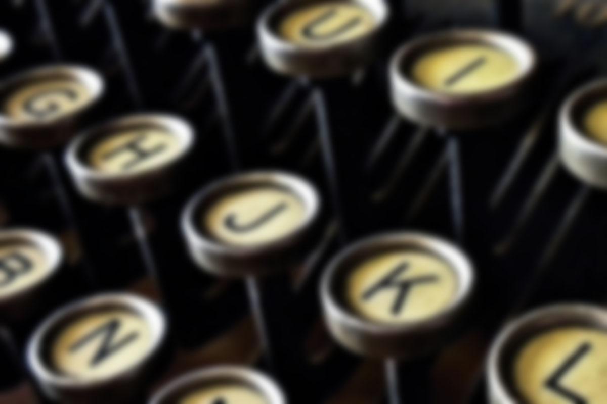 Antique typewriter keyboard closeup